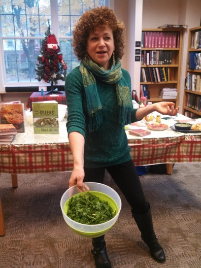 """Wild About Greens"" author Nava Atlas shows FRIENDS how to massage kale in preparation for a savory salad"