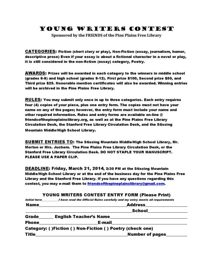 Young Writers Contest Entry Form