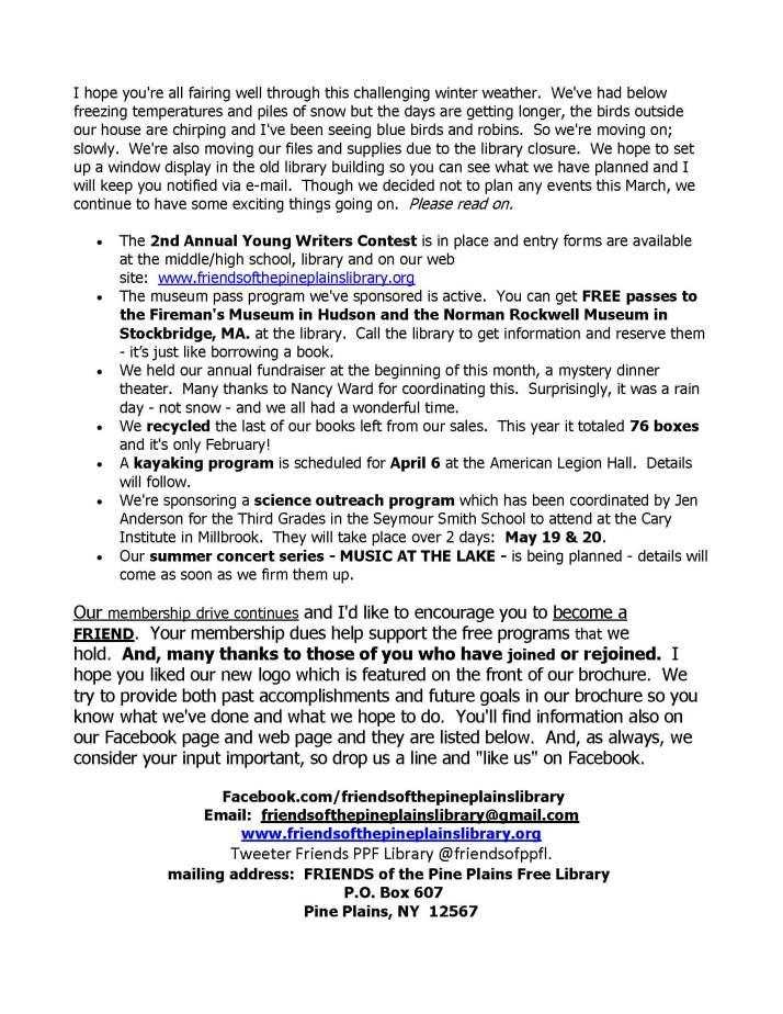 FRIENDS February 2014 newsletter