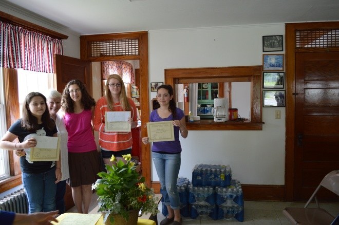 Mikayla Quinn, Vicky LoBrutto (Chairperson Young Writers Contest), Janine Babcock (Teacher, Stissing Mountain Middle School), Hannah Benham, Kelsey Bowen.