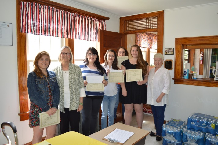 Mackenzie Ean, Jean Osofsky (Co-Chair Young Writers Contest), Crystal Kishbaugh, Kayla Bowen, Crystal Clancy, Audrey Hollick, Vicky LoBrutto (Chairperson Young Writers Contest)