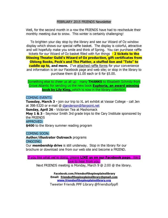 FEBRUARY 2015 FRIENDS Newsletter