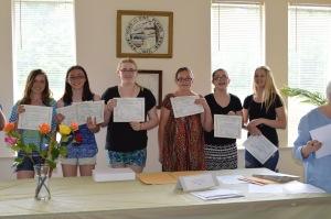 (left to right) Juliana Losee, Sam Losee, Hannah Benham, Victoria Douglass, Julianna Kalb - Honorable Mention Fiction Grade 6-8, Ariana Foglia