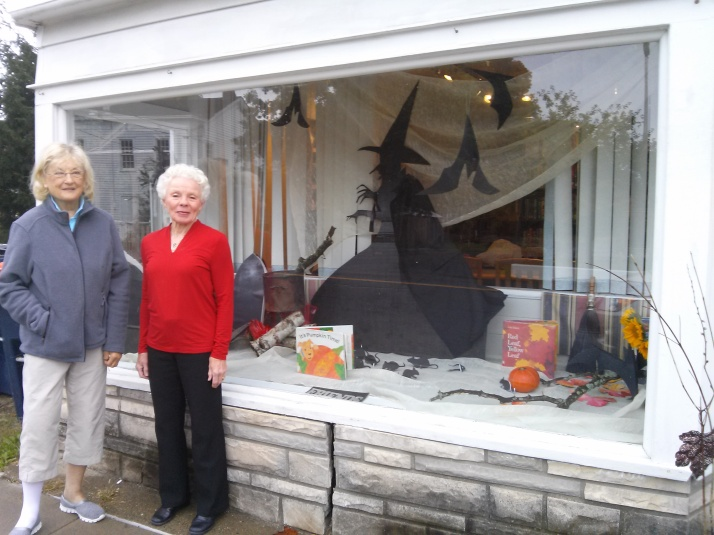 Brenda, Vivian and Janet decorate the Pine Plains Library window for Halloween. Join us for our book distribution October 31st at the PP firehouse.