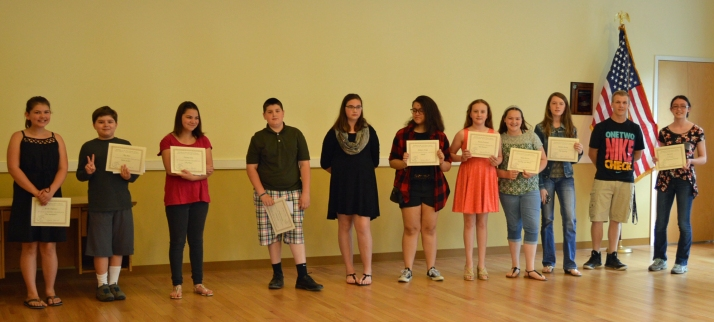 Some of the winners of our 2016 Young Writers Contest. Left to right. Brooke Chapman, Alex Bass, Destiny Cruz, Ben Prentice, Victoria Douglass, Emily Forges, Annette Prezzano, Haley McCord, Barbara Moody, Michael Orlandi, Sam Losee.